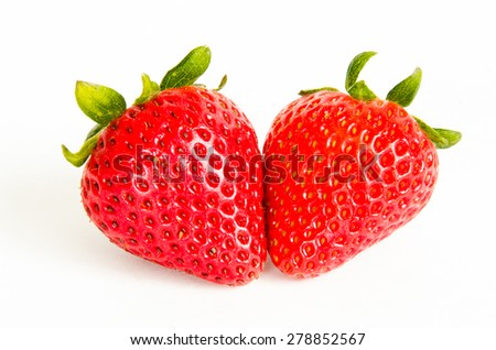 Two fresh strawberries on white isolated background. Panoramic style. - stock photo