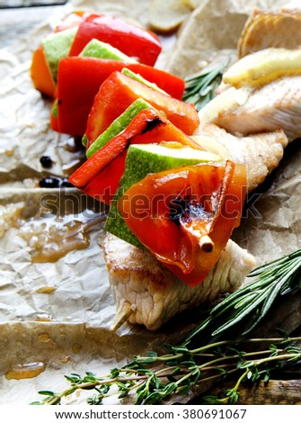 Two fried chicken skewers of grilled meat BBQ Kebab and vegetables - Stock image  - stock photo