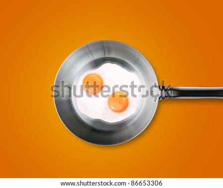 Two Fried eggs in a frying pan on orange background - stock photo