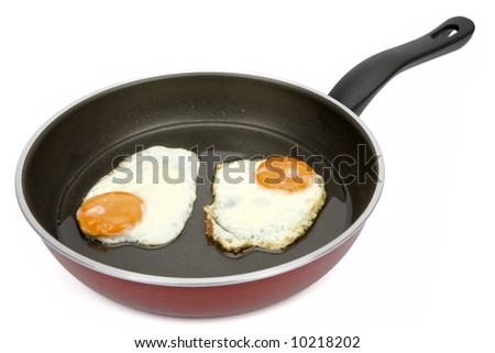 Two fried eggs on non-stick frying pan - stock photo