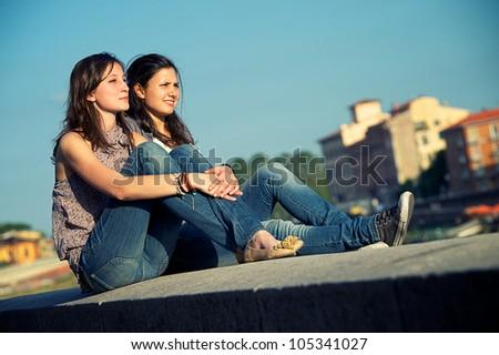 Two Friend Outdor lifestyle - stock photo