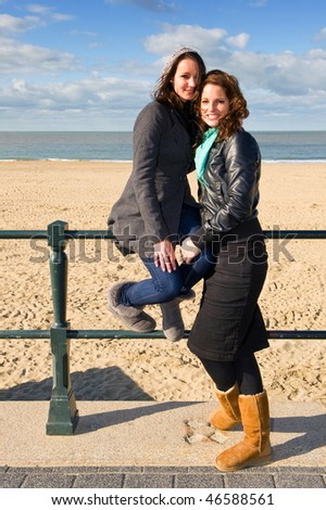 Two friends posing at the beach on a beautiful autumn afternoon - stock photo