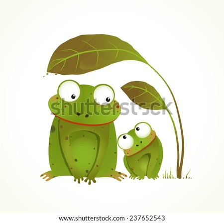 Two Frogs Mother and Baby Childish Animal Cartoon. Hand drawn watercolor style drawing of animals. Raster variant. - stock photo