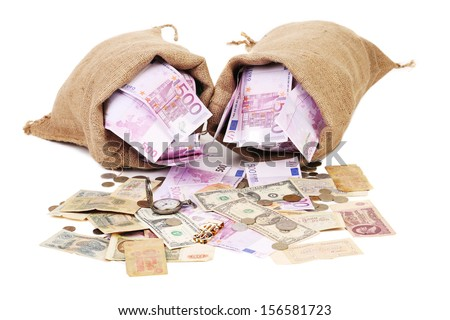 Two full sack with money. Isolated on a white background. - stock photo