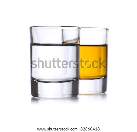 Two full shots with liqueur - stock photo