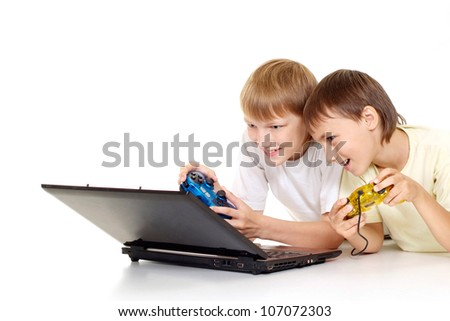 Two funny boys with laptop on a white background - stock photo