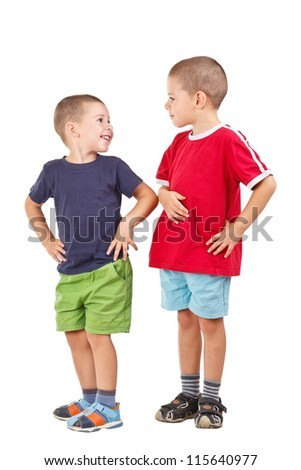 Two funny brothers isolated on white background - stock photo