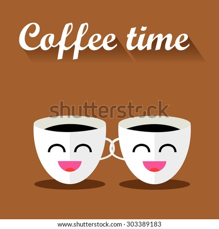 Two funny cups of coffee with inscription. Illustration flat design with long shadow. - stock photo