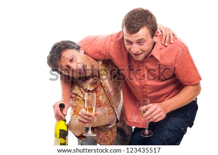 Two funny drunken men with bottle and glass of alcohol, isolated on white background. - stock photo