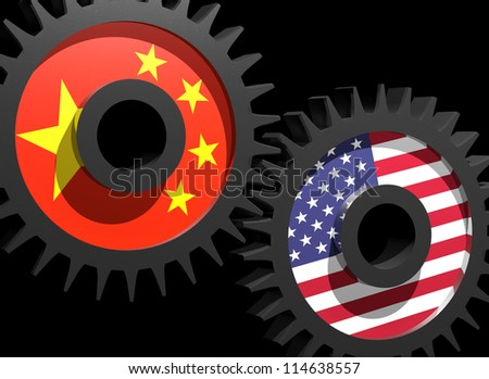 Two gears with the flags of China and USA - stock photo