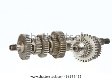 Two gearshafts , shot in studio over a white background. - stock photo