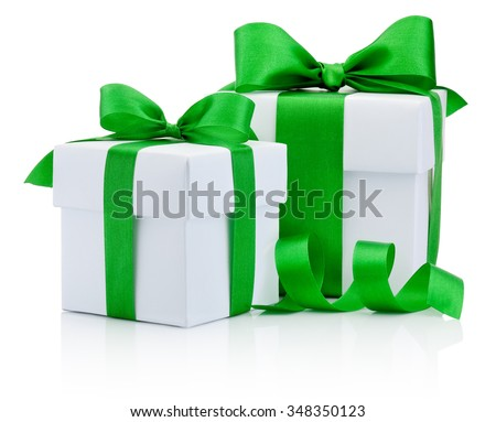 Two gift white boxs tied green ribbon bow Isolated on white background - stock photo