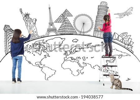 two girl kids drawing global map and famous landmark  - stock photo