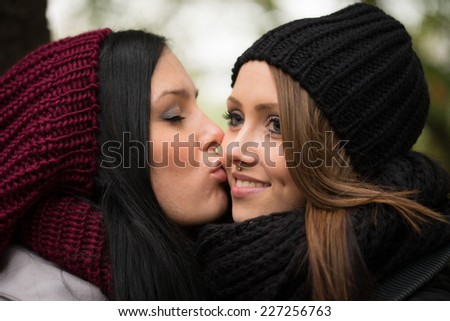 two girlfriends in an autumn forest / Girlfriends - stock photo