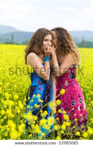 Two girls are secretive in a yellow field - stock photo