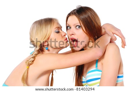 two girls chatting - stock photo