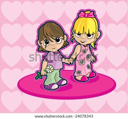 Two Girls Holding Hands - stock photo