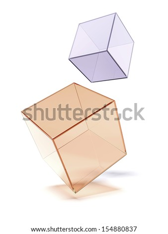 Two glass cubes - stock photo