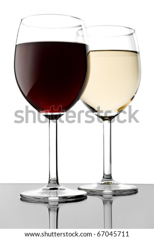 Two glass with red and white wines - stock photo