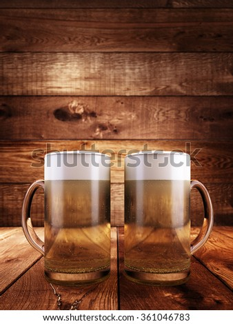 Two glasses filled with beer foam. Against the background of a wooden surface. 3D render. - stock photo