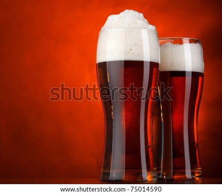 Two glasses of beer - stock photo