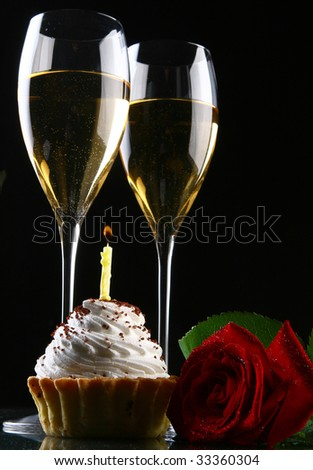 two glasses of champagne with rose - stock photo