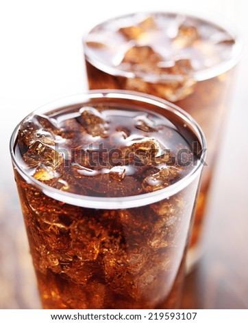 two glasses of cola soft drink - stock photo