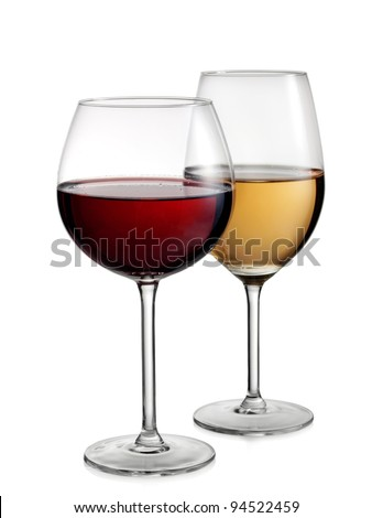 Two glasses with red and white wine - stock photo