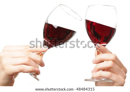 two goblets of wine - stock photo