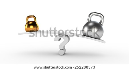 Two gold and silver kettlebells  in equilibrium - stock photo