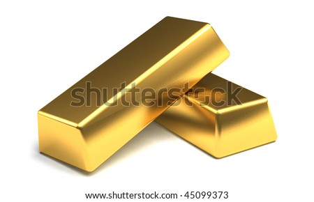 Two gold bars on a white background. - stock photo