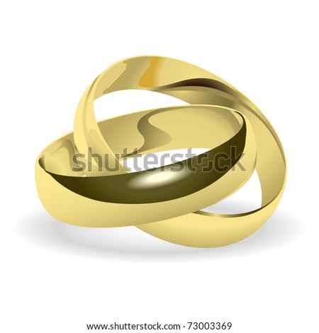 Two gold wedding rings on a white background. - stock photo