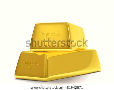 Two Golden Bars on White Background - stock photo
