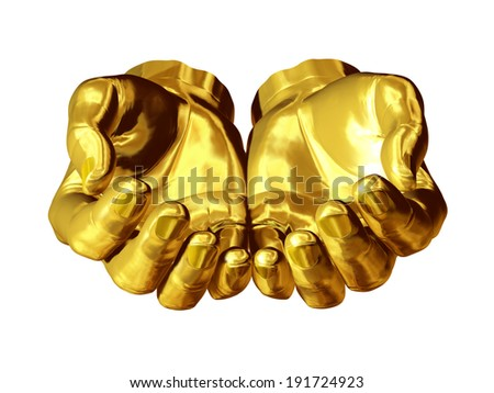 two golden hands form a bowl - stock photo