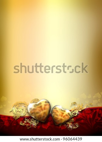 two golden love hearts design - best for golden wedding anniversary invitation - stock photo