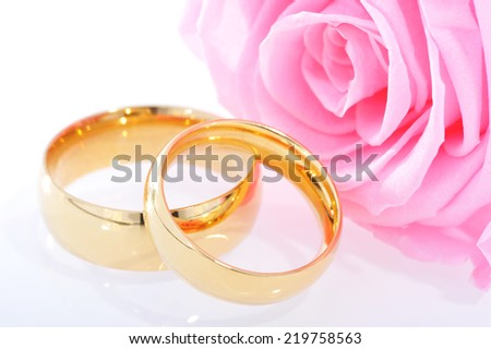 Two golden rings in red rose on white background - stock photo