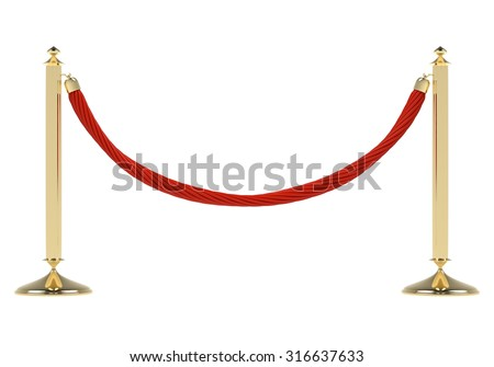 Two golden stanchions with a red rope. Isolated on white background. Barrier, enclosed VIP area, protected enterance, private event, luxury gala concept.  - stock photo