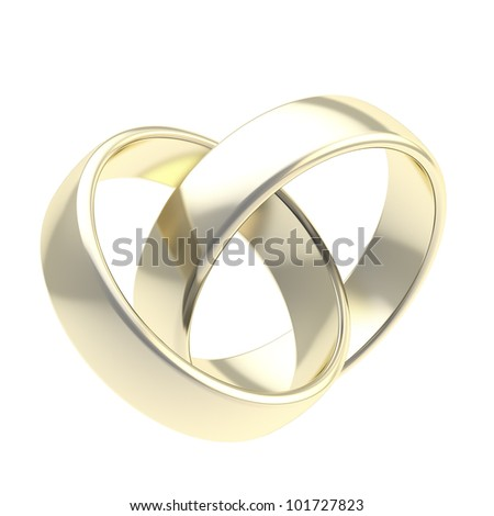 Two golden wedding linked rings isolated on white - stock photo