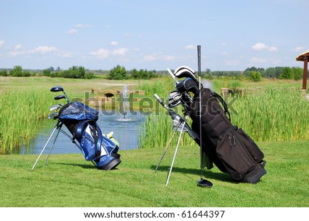 two golf bags - stock photo