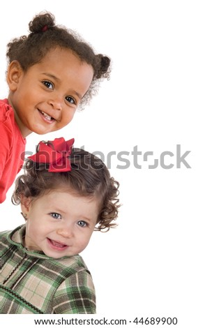Two gracious baby girls isolated on a over white background - stock photo