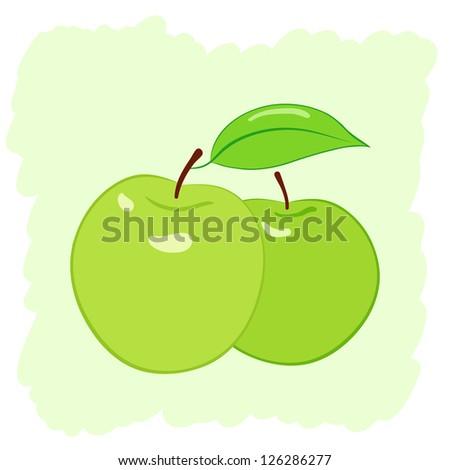 two green apples, raster illustration - stock photo