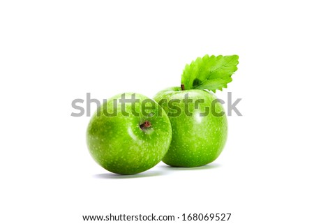 Two Green Apples Two Granny Smith Apples isolated on white background. - stock photo