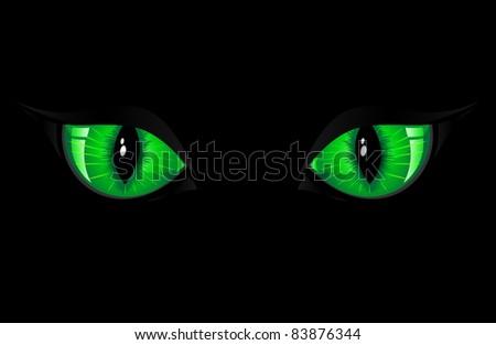 Two green cat eyes on black background, illustration - stock photo