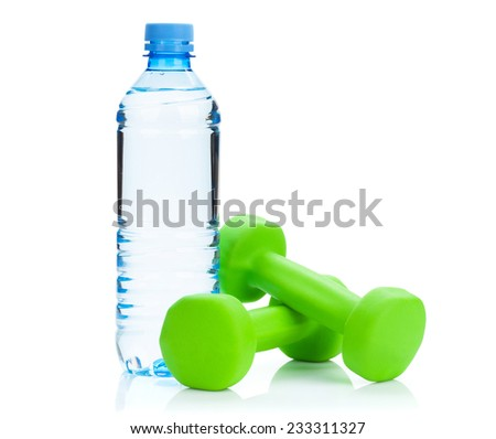 Two green dumbells and water bottle. Fitness and health. Isolated on white background - stock photo