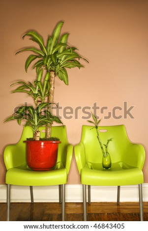 Two green plastic chairs with plants sitting on the seats. Vertical shot. - stock photo