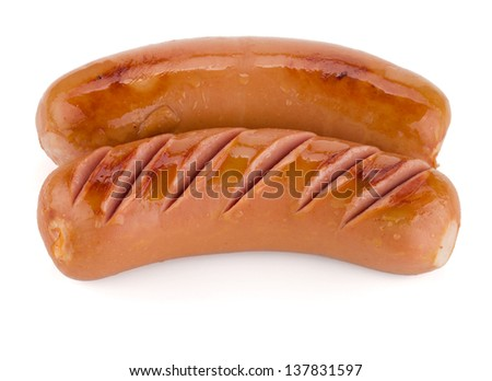 Two grilled sausages. Isolated on white background - stock photo