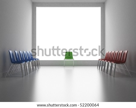 Two groups of colors chairs facing and one chair like a referee - stock photo