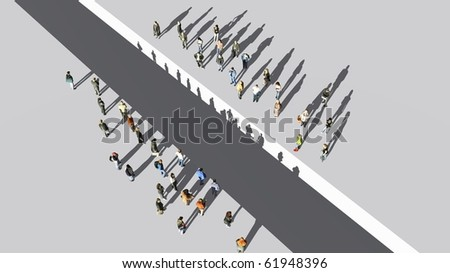 two groups of people standing - stock photo