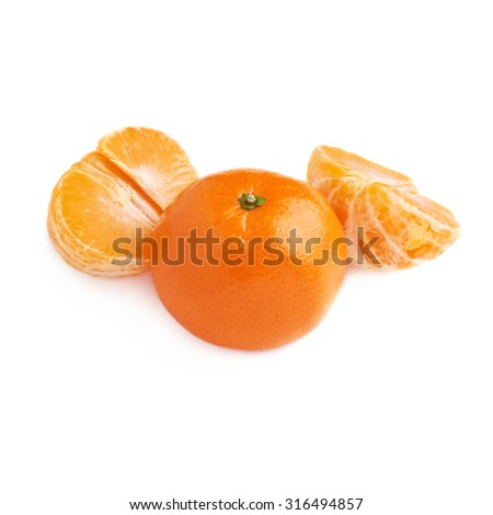 Two halves and fresh juicy tangerine fruit served isolated over the white background - stock photo