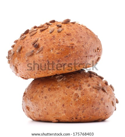 Two hamburger bun or roll with sesame seeds isolated on white background cutout - stock photo